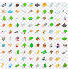 100 preserve icons set isometric 3d style vector