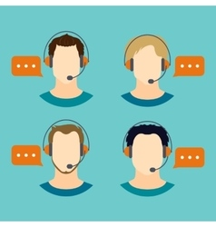 Male call center avatar icons vector image