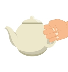 Hand human with teapot vector