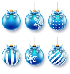Christmas blue balls set vector