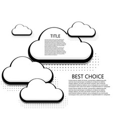 modern halftone cloud icons background vector image