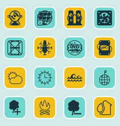 set of 16 eco icons includes aqua clear climate vector image