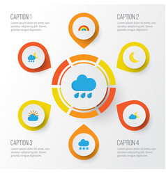 Climate flat icons set collection of moon sunny vector