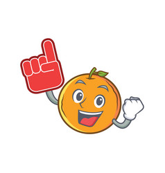 With foam finger orange fruit cartoon character vector
