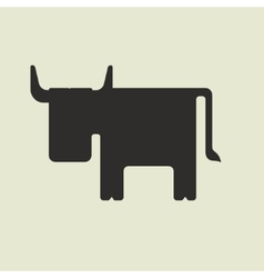 Silhouette of cute cartoon bull with horns vector
