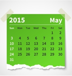 Calendar may 2015 colorful torn paper vector