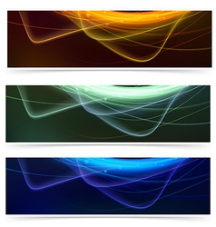 Bright neon glow line web footer set vector