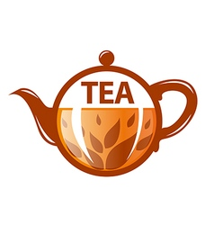 Logo round glass teapot vector