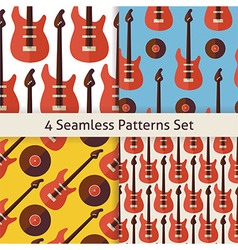 Four flat seamless music instrument rock guitar vector