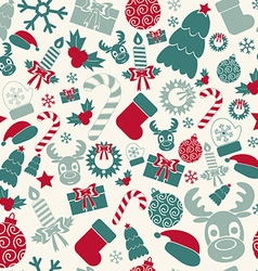 Seamless christmas background retro colors vector
