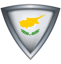 Steel shield with flag cyprus vector