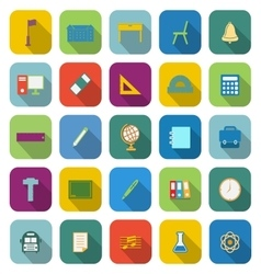 School color icons with long shadow vector