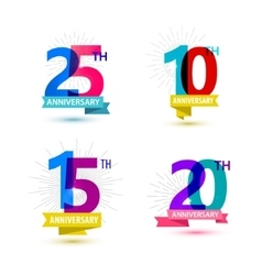 Set of anniversary numbers design 25 10 vector