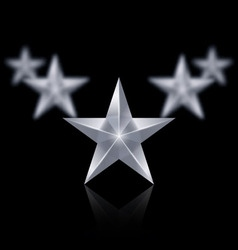 Five silver stars in the shape of wedge on black vector