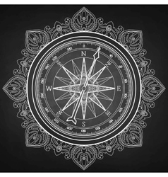 Graphic wind rose compass vector image