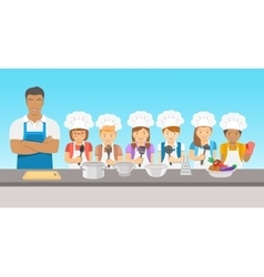 Kids cooking class flat vector