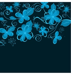 Abstract blue floral design vector