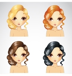 Evening curly hair set vector