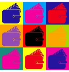 Wallet sign pop-art style icons set vector