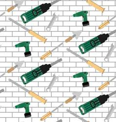 Pattern tools construction on brick wall vector