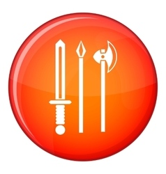 Ancient weapon sword pick and axe icon vector