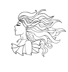 Black and white portrait of a girl with long hair vector