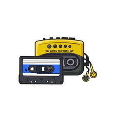Black and yellow audio player walkman and vector