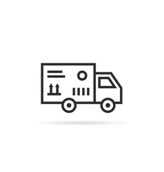 black thin line delivery van with package box vector image