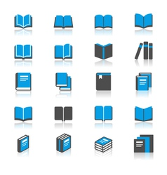 Book flat with reflection icons vector image