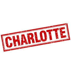 Charlotte red square grunge stamp on white vector