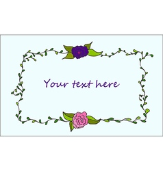 Cute hand drawn floral frame vector