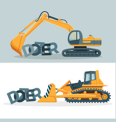dozers creative promotional posters with huge vector image vector image