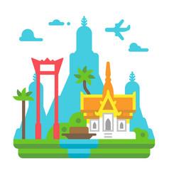 flat design bangkok landmarks vector image vector image