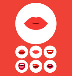 flat icon mouth set of teeth tongue mouth and vector image