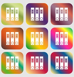 Folder icon nine buttons with bright gradients vector