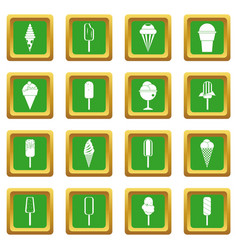Ice cream icons set green vector