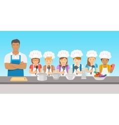 Kids cooking class flat vector image vector image