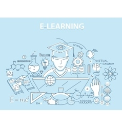Line style design concept of e-learning and online vector image