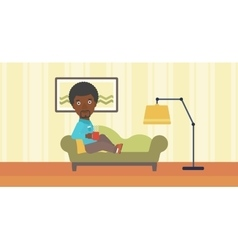 Man lying with cup of tea vector