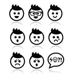 Man or boy with spiky hair faces icons set vector