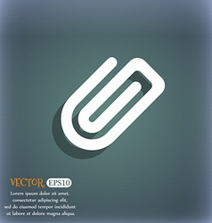 Paper clip icon symbol on the blue-green abstract vector