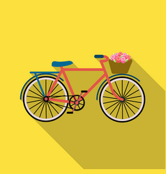 Pink bicycle with basket icon in flat style vector
