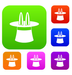 Rabbit ears appearing from a top magic hat set vector