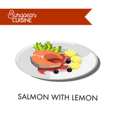salmon with lemon from european cuisine isolated vector image