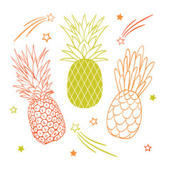 Set of three pastel pineapple fruit styles vector
