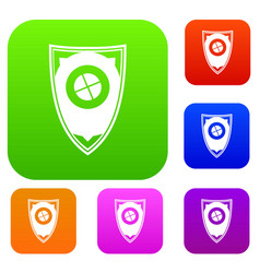 shield set collection vector image vector image