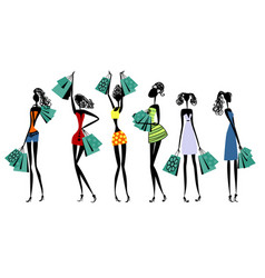Silhouettes of women with shopping vector