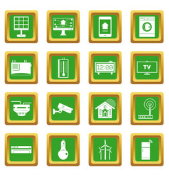 Smart home house icons set green vector
