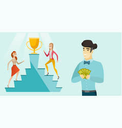 two young women competing for the business award vector image
