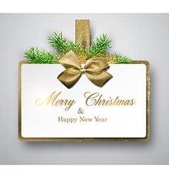 White paper gift card with spruce twigs vector image